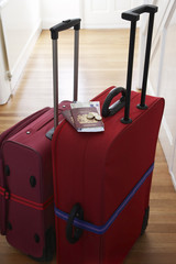 Two suitcases standing in hallway, elevated view