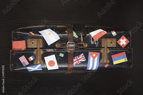 Suitcase with various flag stickers, studio shot