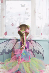 Young girl 5-6 wearing fairy costume looking through window, back view