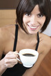 Woman holding cup of coffee, portrait