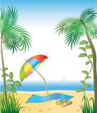 Idyllic tropical beach - vector illustration poster