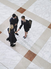Business people shaking hands, elevated view