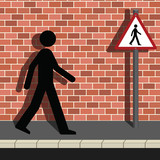 Signage Man Walking Along a Street poster