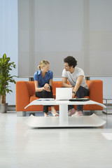 Two people using laptop in reception room