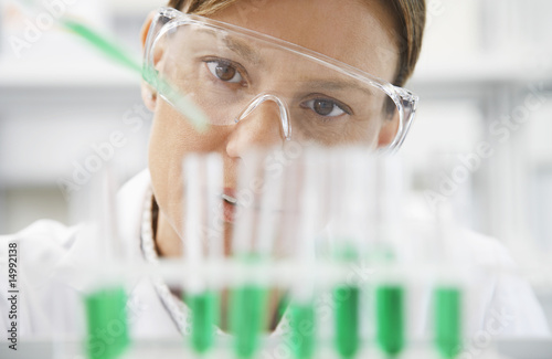 Scientist filling test tubes with pipette in laboratory, close-up