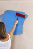 Woman painting wall with paint roller, back view
