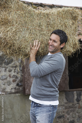 Man carrying hay on shoulders, outdoors