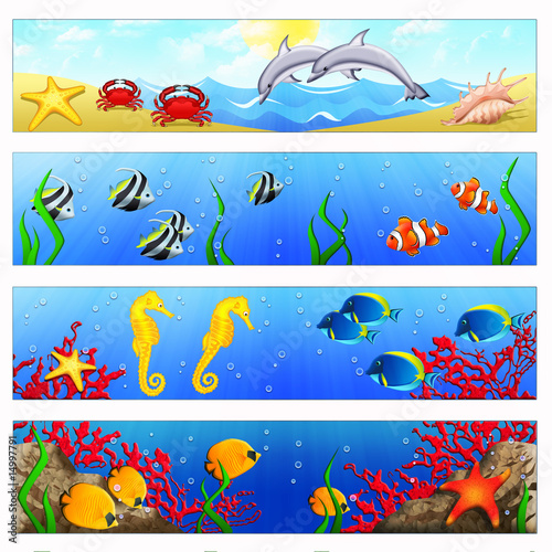 Ocean banners with tropical fishes