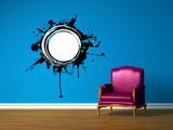 Purple chair in blue minimalist interior poster