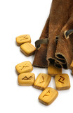 Runes in leather sack poster