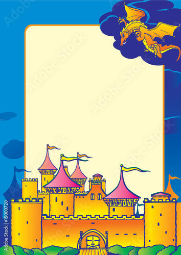Magic castle, dragon and sample text. Vector art-illustration.