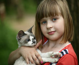 Child and a kitten.
