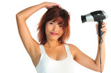 Very seductive young asian woman with a hair dryer poster