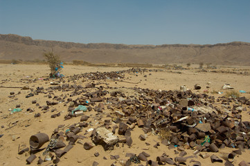 Rocks and garbage in the desert
