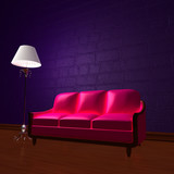 Pink couch and standard lamp in dark purple minimalist interior poster