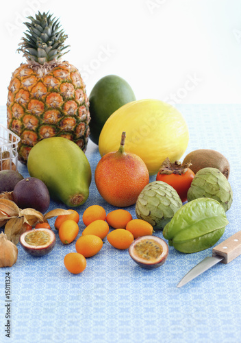 Arrangement of exotic fruits