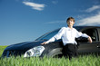 Постер, плакат: Successful businessman with car on grassland