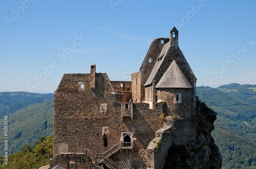 Towers and roofs of medieval castle in green Donau valley