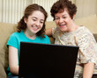 Teen and Mom with Laptop
