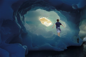 Boy Standing on Iceberg