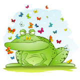 Ugly Big Frog with Beautiful Butterflies poster
