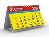 2009 year calendar. October. Isolated 3D image poster
