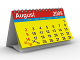 2009 year calendar. August. Isolated 3D image poster