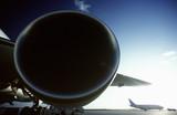 boeing 767 jet aircrat engine foreground boeing 737 in background.