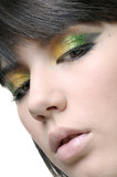 Closeup of a beautiful face whit glitter eyeshadow poster
