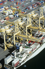 Aerial view container ship in dock, Sydney, Australia