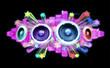 Speaker couleurs musique 3D flyer fond noir