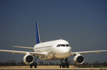 Passenger jet on taxiway