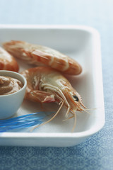 Shrimps and dipping sauce on plate, close-up