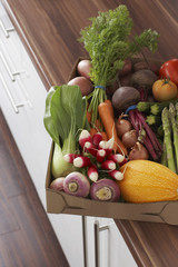 Container full of fresh vegetables on kitchen counter, close-up, elevated view