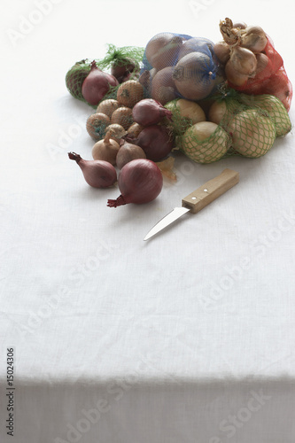 Assorted onions in net on table