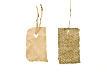 Blanks cardboard and sackcloth tags isolated on white
