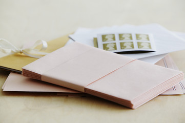 Paper stationery and stamps, studio shot