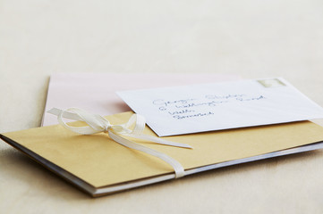 Letter and paper stationery, elevated view, close up, studio shot