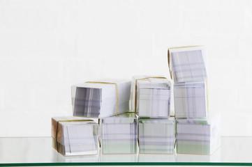 Stack of boxes of envelopes, studio shot