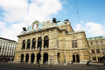 Building with statues on top in Vienna