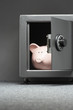 Piggy bank in safe