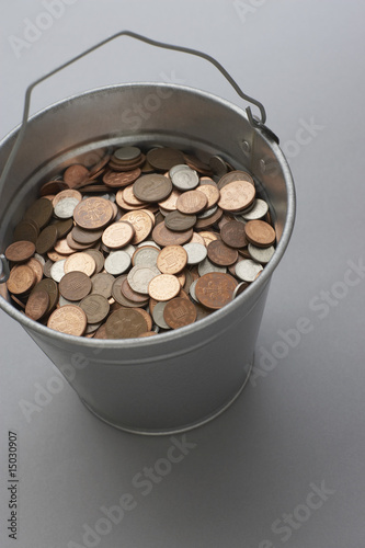Bucket of coins