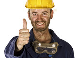 confident labourer thumn up poster