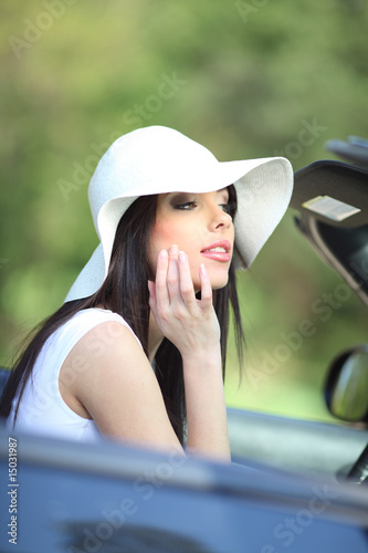 Glamour woman and car