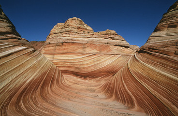 USA, Arizona, Paria Canyon-Vermilion Cliffs Wilderness, The Wave, sandstone rock formation