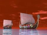 Viking Ship at Sea poster