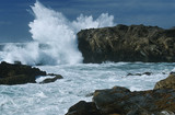 USA, California, Point Lobos, waves splashing on rocks at Pacific coast