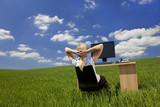 Woman Relaxing In a Virtual Green Office poster