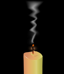 Blown Off Candle with SMoke (Vector)