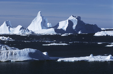 antarrctica ice bergs and sea